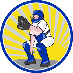 Baseball Catcher Catching Side Circle