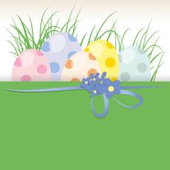 Ostereier,Punkte,Textfläche,Geschenkband,Blumen