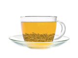 Transparent cup of green tea isolated on white