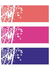 Set Hintergrund Zweige, Blüten,Vögel,Shiloutte,Vektor