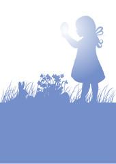 Kind mit Osterei,Narzissen,Osterhase,Shilhoutte,frei