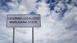 Sign Legalized Marijuana State Clouds Timelapse