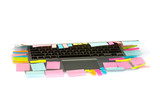 Many Post-it stick on laptop