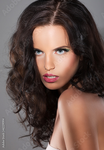 Magnetism. Character. Exquisite Refined Woman with Brown Hair