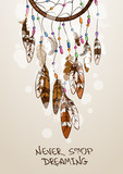 Illustration with American Indians dreamcatcher