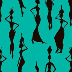 Seamless pattern of African women