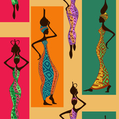 Seamless pattern of African women