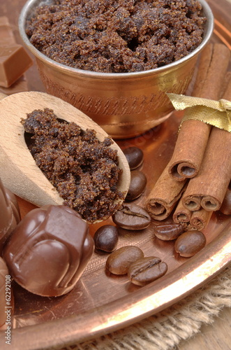 Brown sugar, cinnamon sticks and coffee beans, chocolate candy