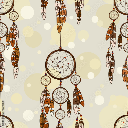 Seamless pattern of American Indians dreamcatcher