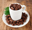 Coffee beans with leaf