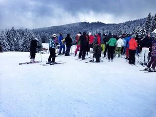 Andrang auf der Skiabfahrt