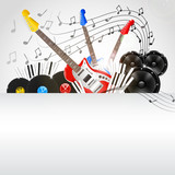 Vector Music Background with Instruments and Music Equipment