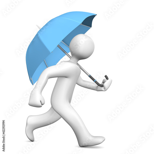 Manikin Runs Umbrella