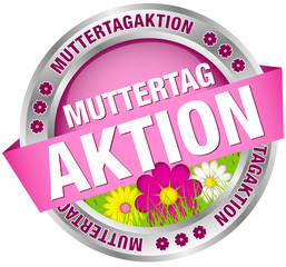 "Button Banner ""Muttertagaktion"" Blumen pink/silber"