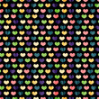 Seamless pattern with colorful hearts