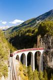 train on Rhaetian Railway, Landwasserviadukt, canton Graubunden,