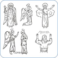 Angels and saints - vector illustration.