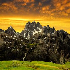 Cadini di Misurina in the sunset,Dolomite Alps,Italy