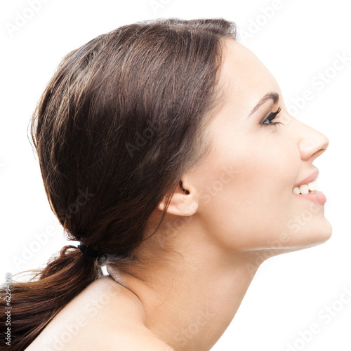 Profile portrait of woman, on white