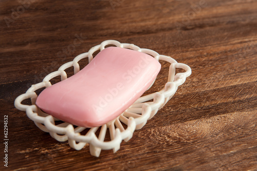 Pink soap on a table