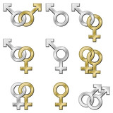 Sex signs. Gender symbols with metallic effect.