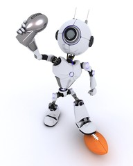 Robot with american football trophy