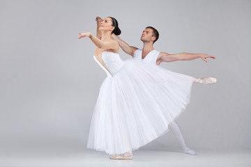 beautiful dancing couple performing ballet.