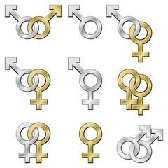 Sex signs. Gender symbols with metallic effect.