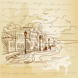 Vintage background with a sketch of the city