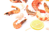 Fresh cooked shrimps composition with lemon.