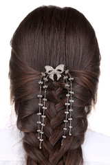 Long Brown Hair Braid. Back View.