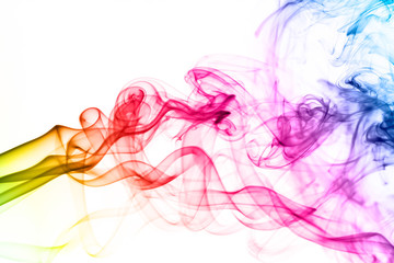 Colorful smoke clouds close up.