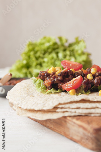 Homemade vegan bean burrito