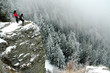 Trekkers on the summit at winter