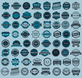 Fototapety Racing badges - big blue set, vintage style