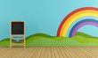 Playroom with blackboard