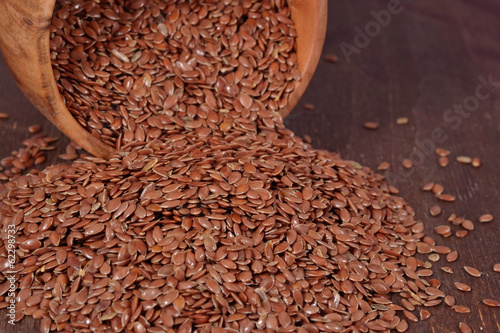 Linseed in a wooden bowl