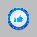 Thumbs Up Circular Vector Blue Web Icon Button
