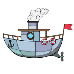 Cartoon ship. Vector illustration