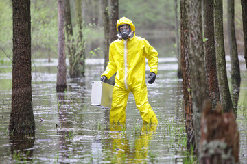 technician in professional uniform in floods area