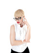 Sexy blonde business woman using smartphone wearing glasses on w