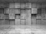 Fototapety Abstract empty concrete interior with cubes on the wall