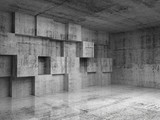Abstract concrete 3d interior with decoration cubes on the wall