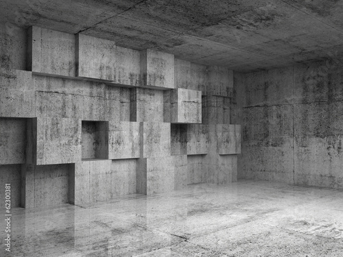 Abstract concrete 3d interior with decoration cubes on the wall - 62300381