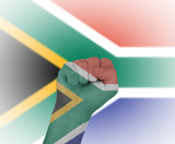 Fist wrapped in the flag of South Africa