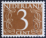 Stamp printed in the Netherlands showing it's value of 7 cent,