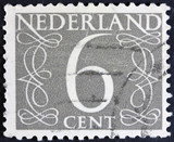 Stamp printed in the Netherlands showing it's value of 6 cent,