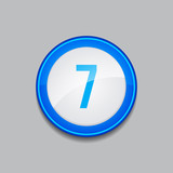 7 Number Circular Vector Blue Web Icon Button