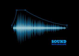 Blue shiny sound waveform with envelope