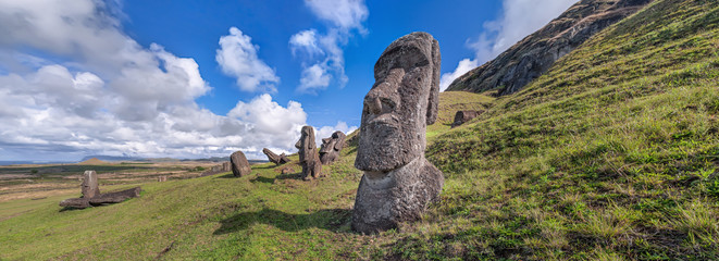 Moais at the quarry of Rano Raraku, Easter Island, Chile.